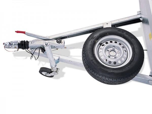 Ersatzradhalter auf V-Deichsel montiert (nur mit langer Zugdeichsel)