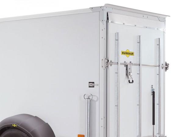 Überfahrwand weiß anstatt Türe hinten, Belastbarkeit max. 300 kg, mit Überfahrspitz und Drehstangenverschluss