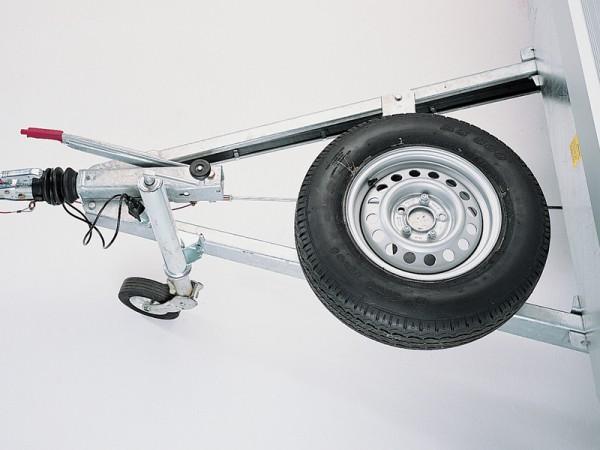 Ersatzradhalter auf Deichsel montiert (nur bei langer Zugdeichsel möglich)