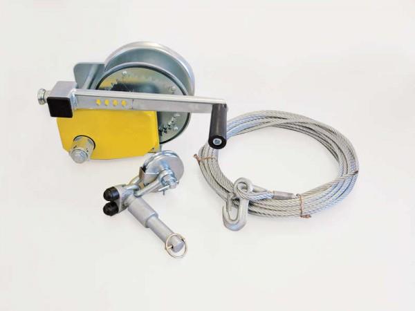 Seilwindenbock mit Seilwinde, einsteckbar und in Längsrichtung verstellbar